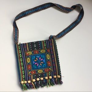 Unbranded Colorful Floral Woven Crossbody Bag